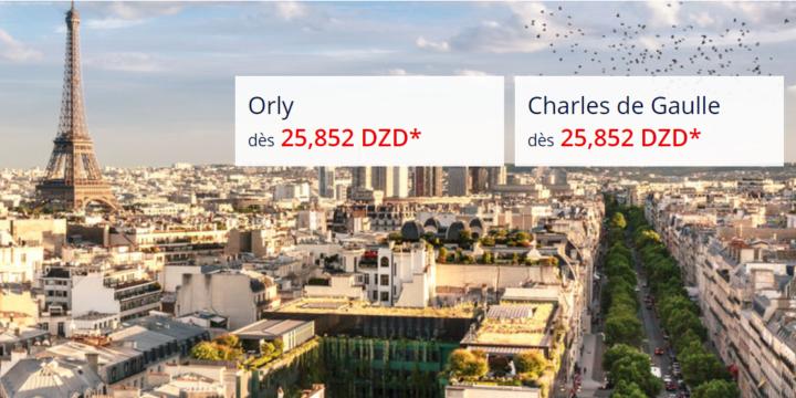 Promotion Alger Paris (Orly et Charles de Gaulle) à 25852 DA l'aller retour